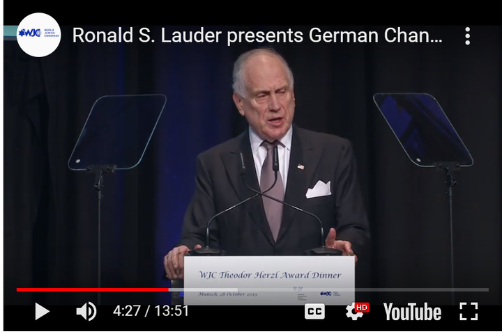WATCH: WJC President Lauder presents German Chancellor Merkel with WJC Theodor Herzl Award