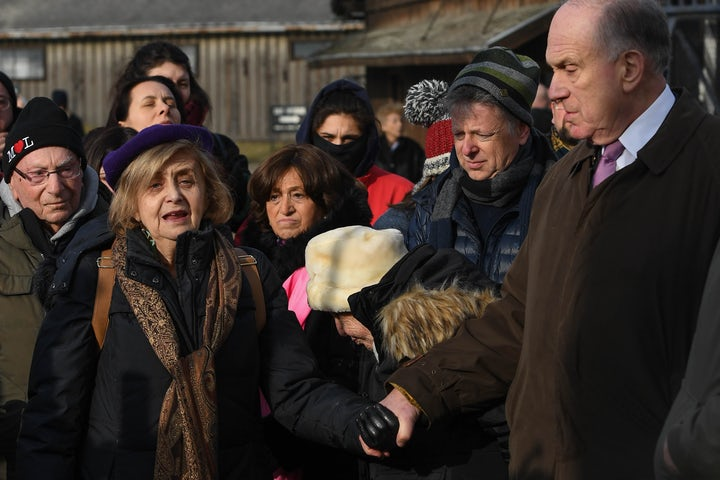 At Auschwitz, WJC President Lauder honors Holocaust survivors