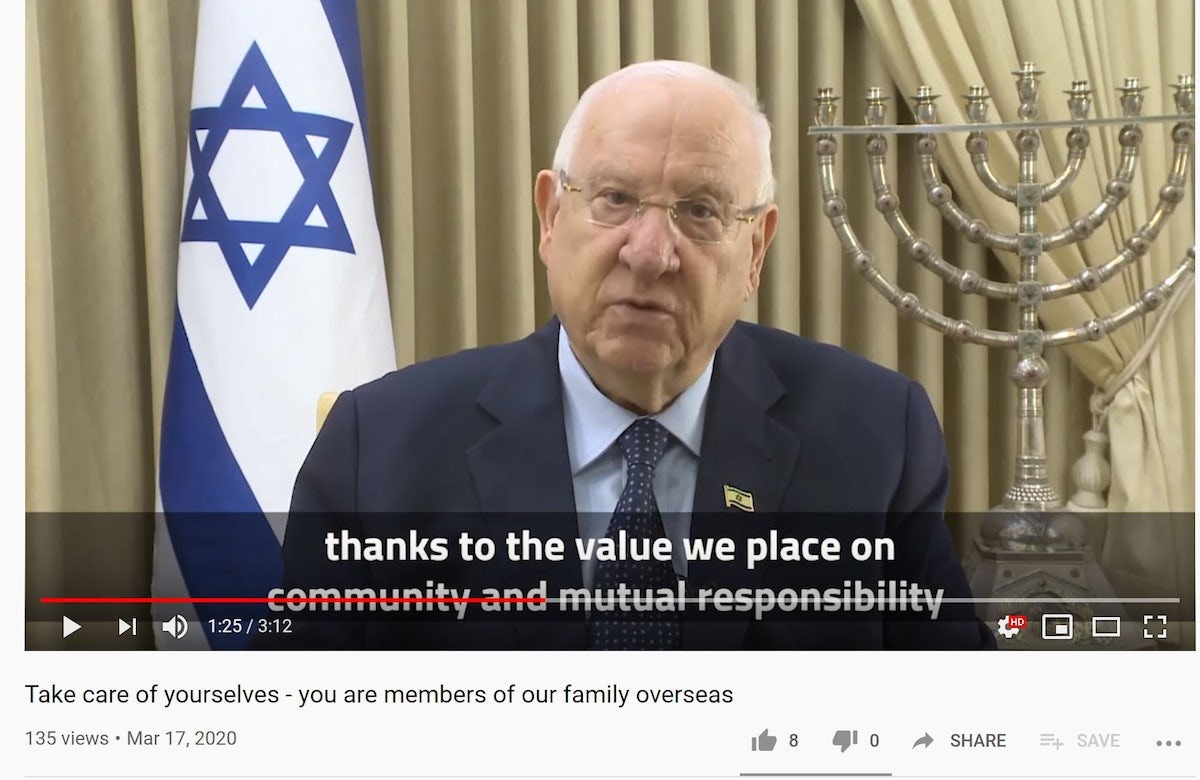 """Israeli President Reuven Rivlin's message to global Jewry amid coronavirus crisis: """"Take care of yourselves - you are members of our family overseas"""""""