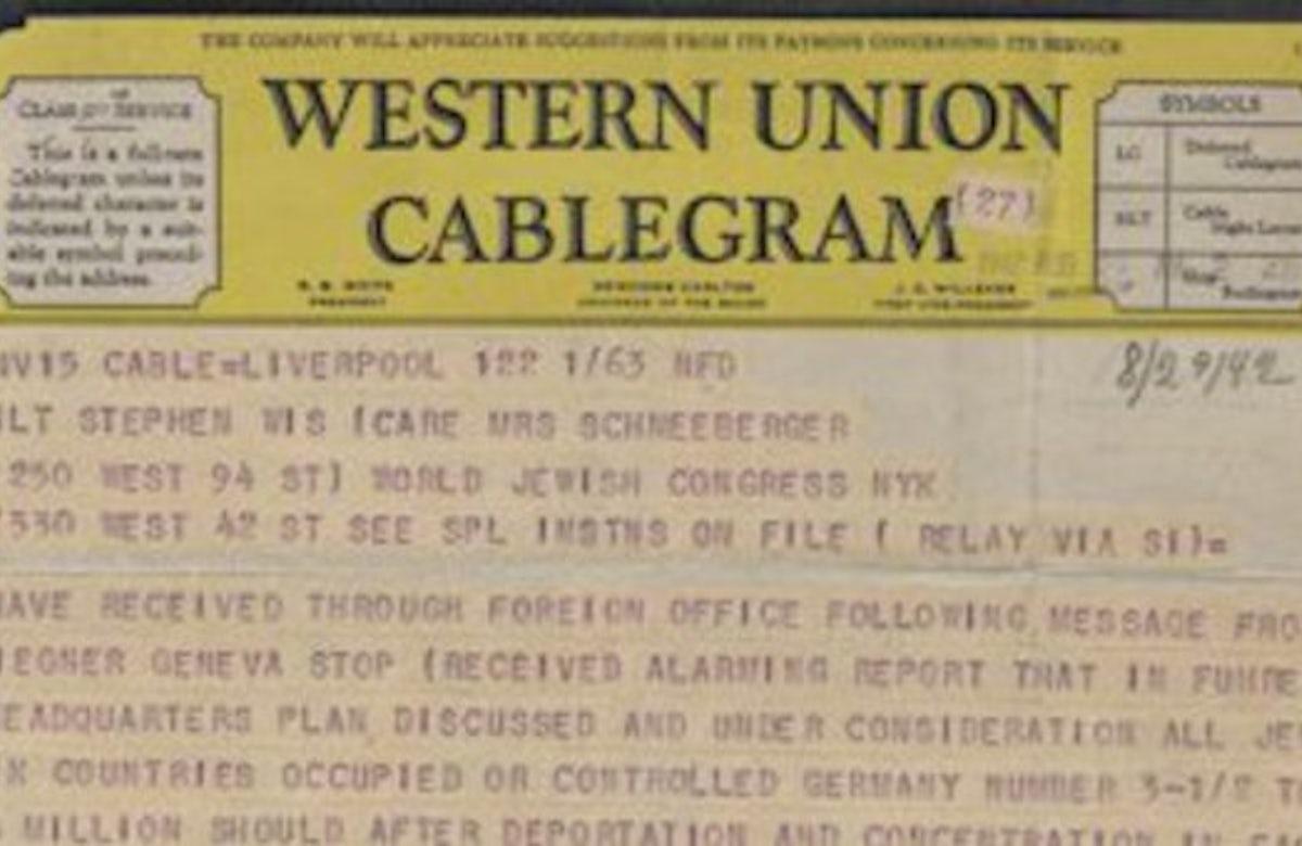 70 YEARS AGO: Riegner Telegram alerts world of Nazi Holocaust