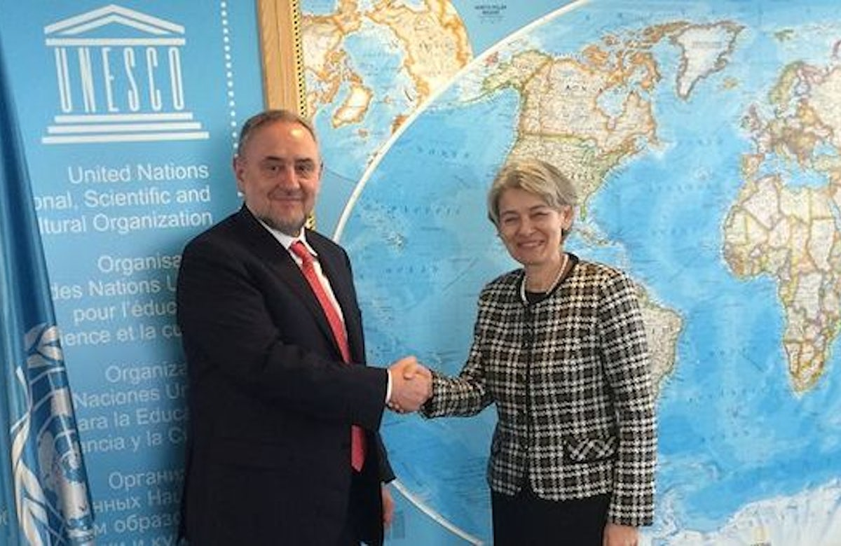At meeting with WJC leader, UNESCO chief condemns Iranian Holocaust cartoon contest