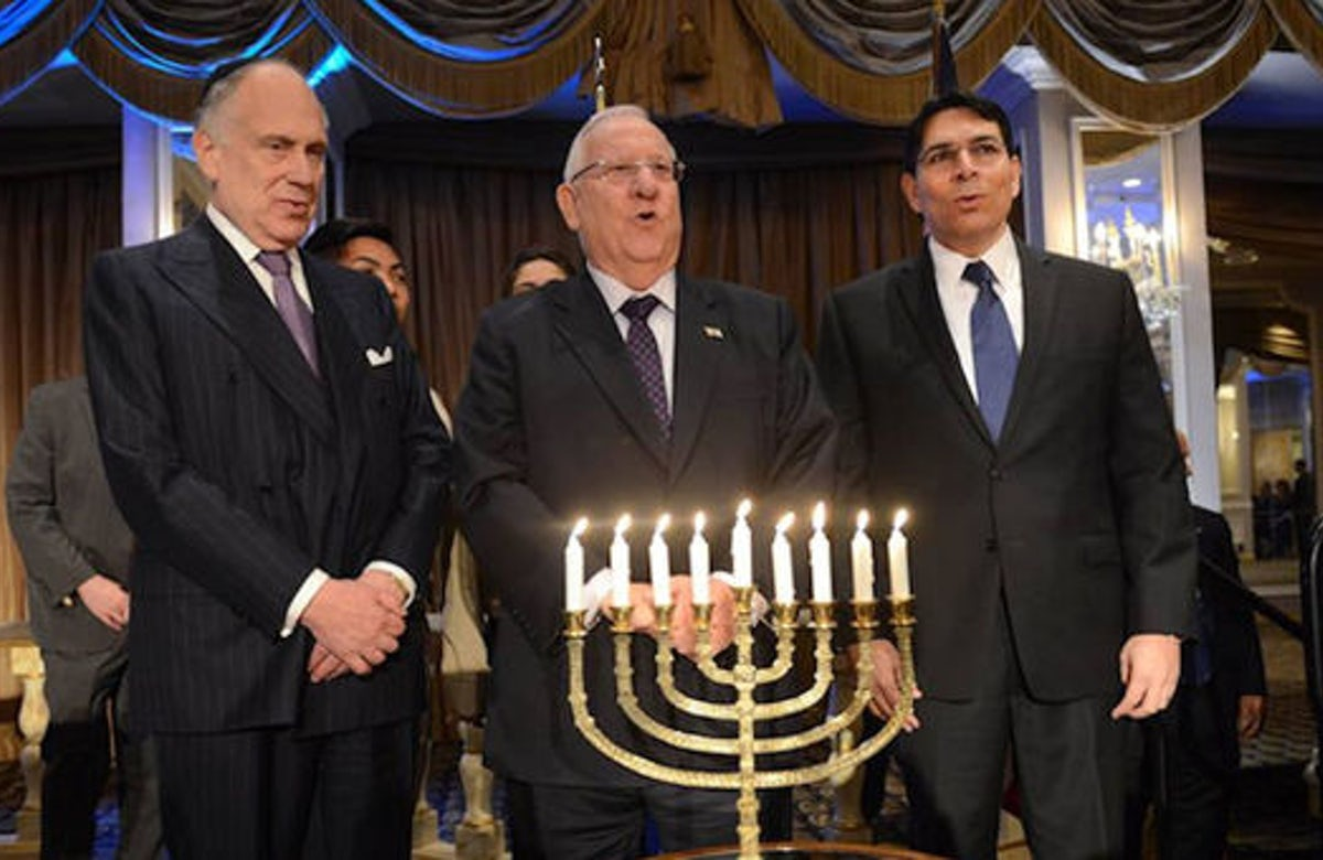 President of Israel, World Jewish Congress head light Hanukkah candles in New York