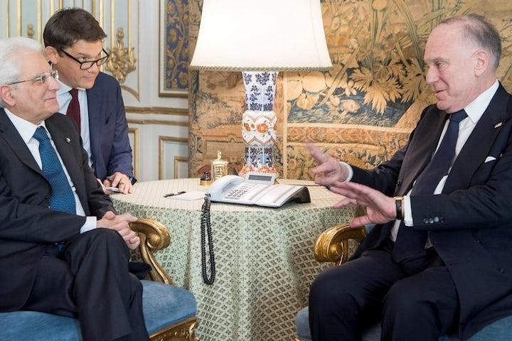 Italian President Sergio Mattarella hosts WJC President Ronald S. Lauder at presidential palace in Rome