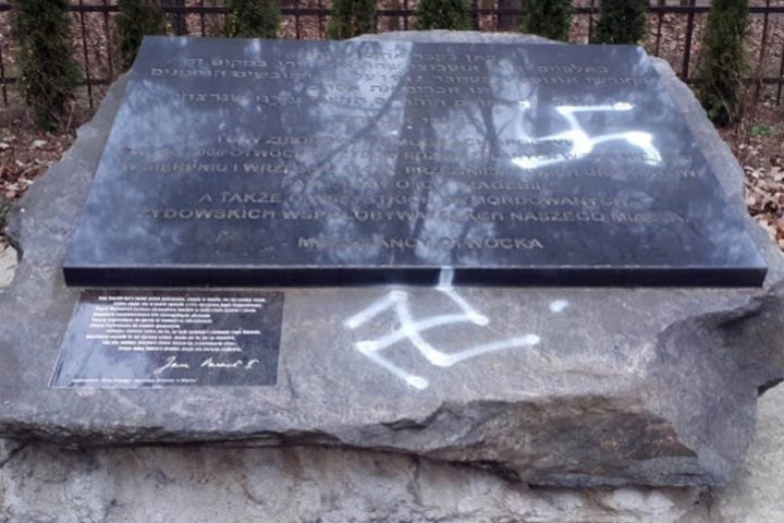 Jewish monument in Poland desecrated by vandals - then swiftly cleaned by local priest
