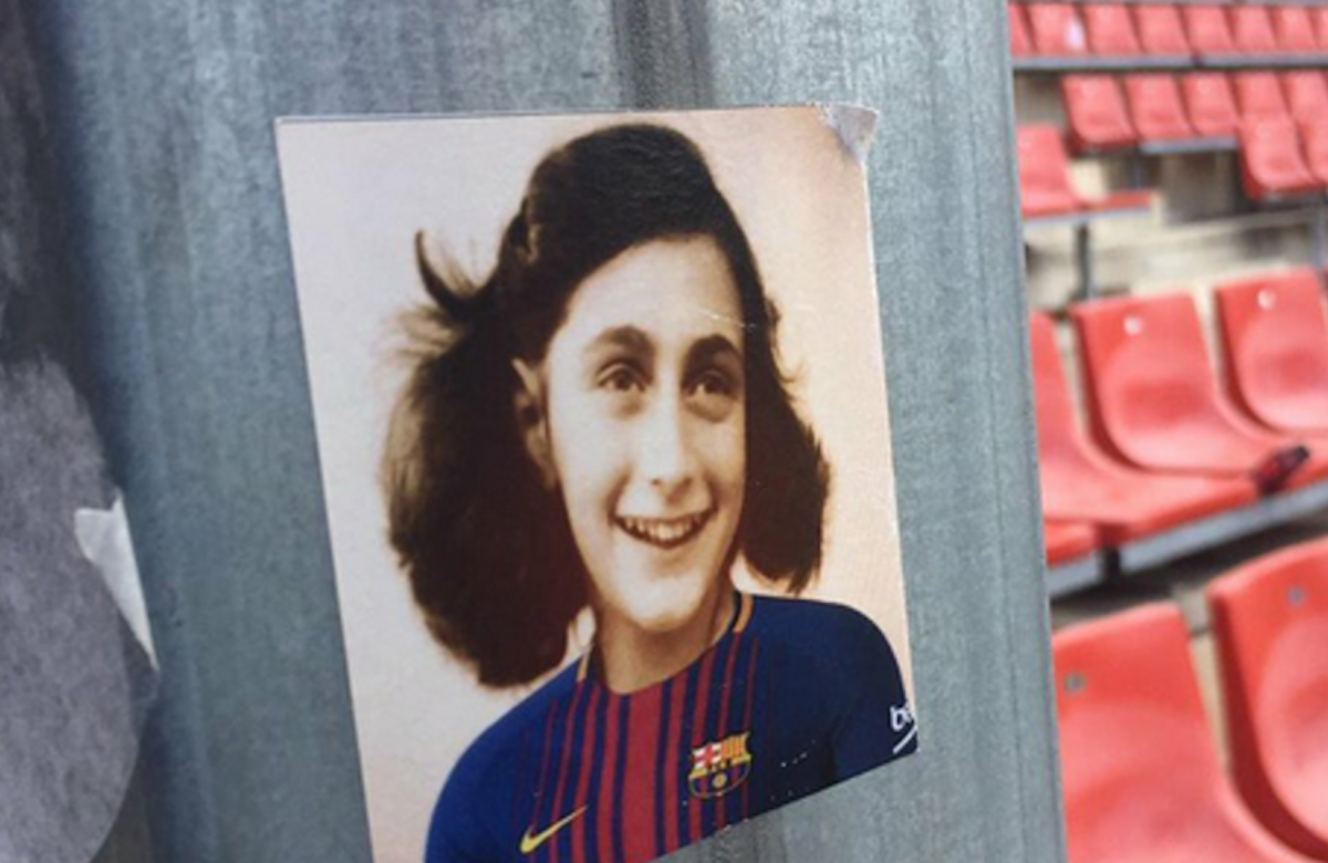 Stickers bearing image of Anne Frank wearing Barcelona football shirt distributed by fans of rival Espanyol team