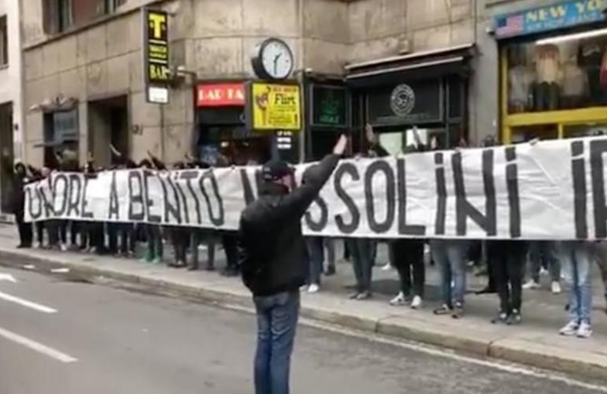 Italian soccer fans caught performing fascist salutes ahead of match