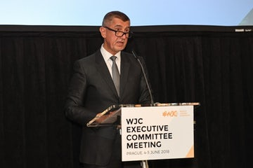 Czech Prime Minister Andrej Babiš addresses WJC's Executive Committee meeting