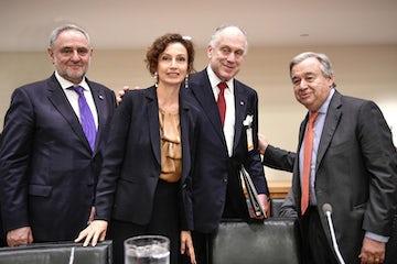 WJC President Ronald S. Lauder addresses UNESCO conference on antisemitism on sidelines of UNGA. 26 September 2018.